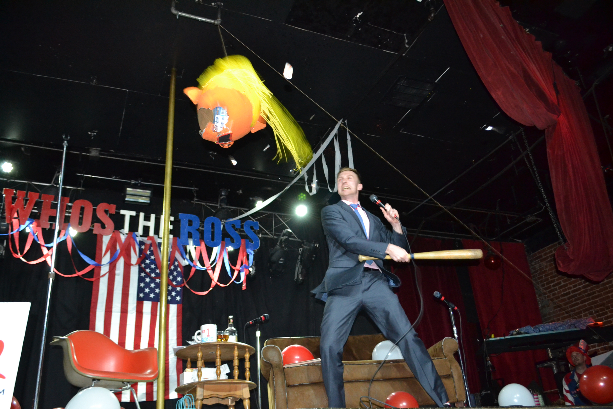 """""""Who's the Ross?"""" whos the ross Aaron PDX Portland comedy comedian late-night talk show Dante's Trump pinata"""