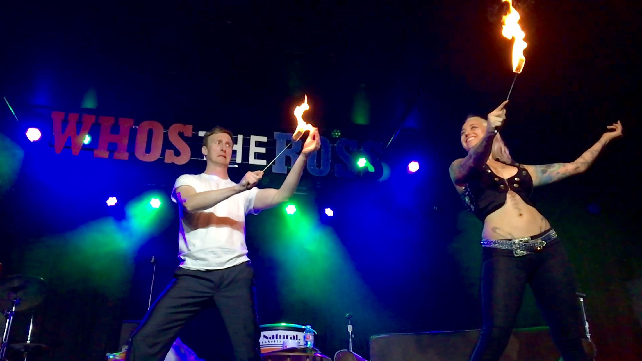 "Fire Dancer Ivizia Aaron Ross ""Who's the Ross?"" comedy comedian Dante's Sinferno live late-night talk show"