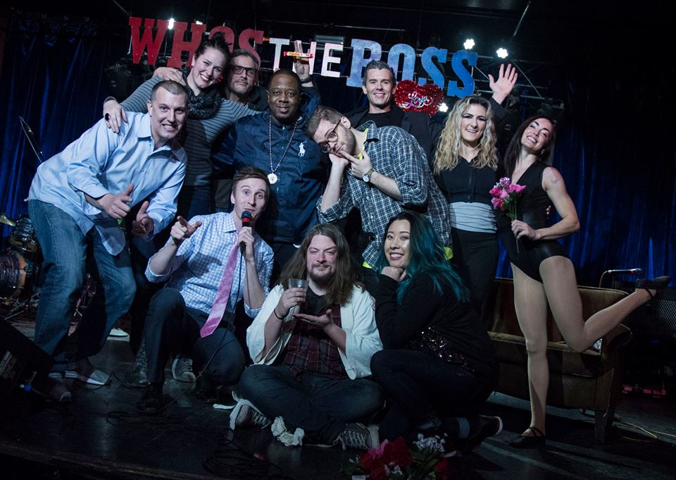 """Who's the Ross?"" whos the ross afterglow aerial arts Aaron Patrick McGuire Jolene Dickerson Vursatyl hip-hop mc rap rapper comedian Portland PDX humor live late-night talk show Dante's funny improv sketch comedy"